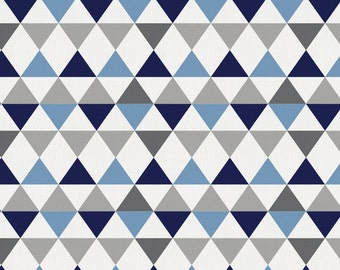 Gray and Blue Triangles Organic Fabric - By The Yard - Boy / Geometric / Fabric