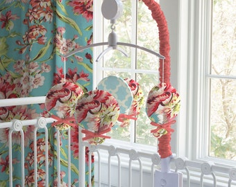Carousel Designs Coral and Teal Floral Musical Mobile