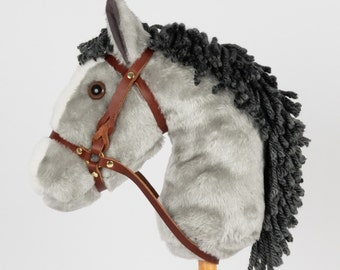 Snowy Mountain Ponies - Gray Stick Horse with Leather Bridle - Stick Pony - Hobby Horse