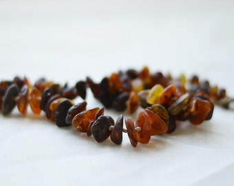 Simple amber raw necklace/ hand made/ unpolished amber/ natural mix color/ Baltic amber/ unique necklace