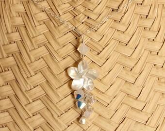 Pearl and Crystal Plumeria Necklace, Pearl and Crystal Frangipani Necklace, Hawaiian Beach Wedding Plumeria Necklace