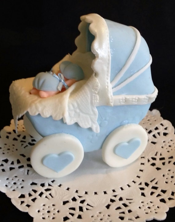 Baby shower cake topper pink carriage