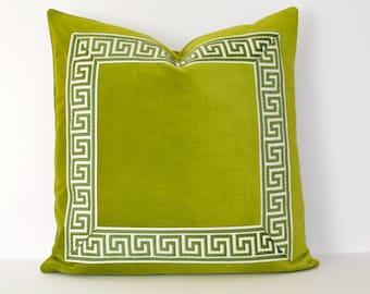 Green Pillow with Greek Key Trim - Lime Green Velvet PIllow