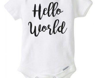 Hello world onesie coming home outfit baby shower gift baby announcement onesie birth announcement outfit baby bodysuit for new baby photos