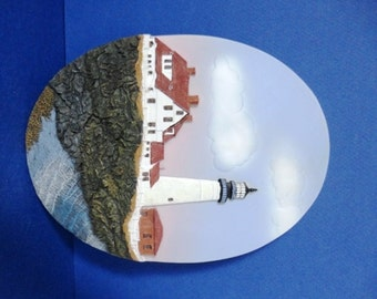 Portland Head Lighthouse, Maine Embossed  Oval Wall Plaque