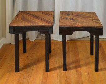Pair of Black Reclaimed Wood Side Tables