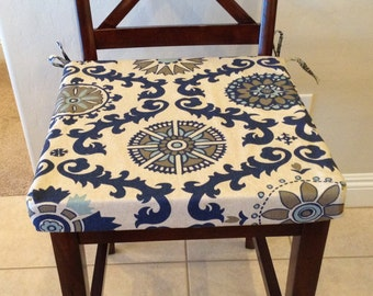 Rustic Natural Linen With Indigo And Light Blue Seat Cushion Cover. Bar Or  Counter Stool