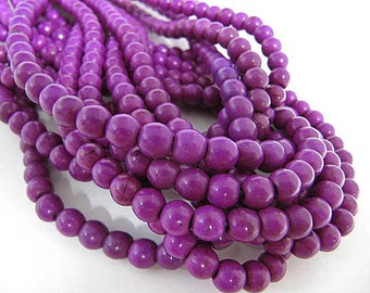 Turquoise Bead Strand, Synthetic, Purple, Dyed, Round, 4mm, 100 Piece Strand, Sale, Jewelry Supply