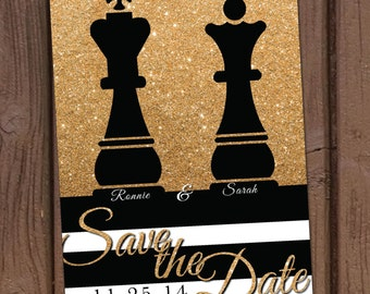 Chess Pieces Save the Date Wedding