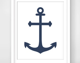30% OFF SALE Anchor Print, Printable Wall Art, Navy Blue Anchor, Modern Wall Art, Nautical Decor,  Instant Download, Nursery Art,Digital Art