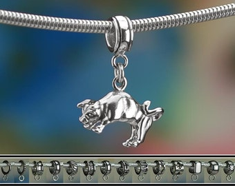 Sterling Silver Bull Charm or European Style Charm Bracelet Solid .925