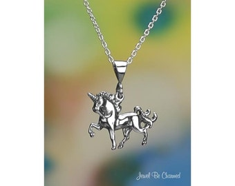 """Sterling Silver Elegant Unicorn Necklace 16-24"""" or Pendant Only .925"""