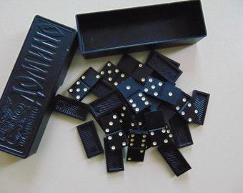 Vintage Bakelite Dominoes, Soviet Black Dominoes, Domino Set Made in USSR,1970s