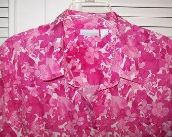 Hot Pink Big Shirt XL Cotton Summer Cooler.  Crispy Bright Breezy Blouse !