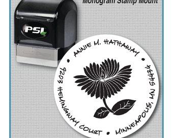 Round Floral Address Stamp | Round Pre-Inked Return Address Stamp | Custom Made Stamp | MS-R2