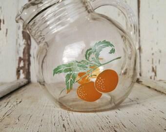 Vintage Small Glass Orange Juice Pitcher