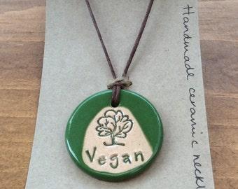 Vegan necklace, beautiful handmade ceramic gift