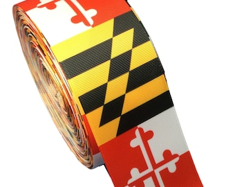 "3 Yards of 2 1/4"" or NEW 3"" Maryland Flag Grosgrain Ribbon"