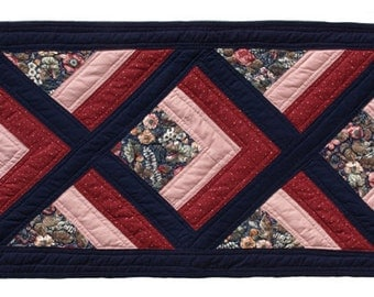 Large Navy, Rose and Cranberry Table Runner