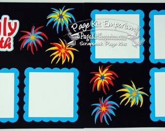 Scrapbook Page Kit July 4th Fireworks Summer Holiday 2 page Scrapbook Layout 81