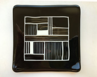 "Plate - 8"" black, white and clear fused glass"