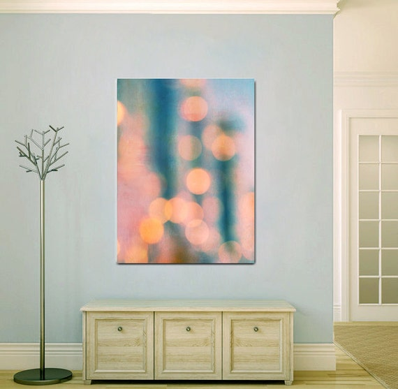 Large Abstract Art Turquoise Teal Peach Modern By Photographyspa