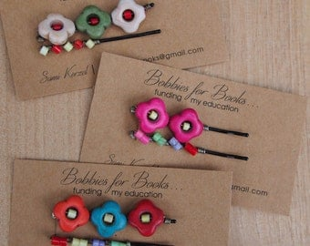 Colorful Flower Beaded Bobby Pins