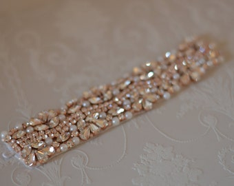Vintage Inspired Crystal Rose Gold Bridal Bracelet/Cuff