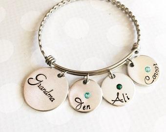 Hand stamped bracelet - Mother's bracelet - Bracelet with kids names - Family bracelet - Expanadable bracelet - Stainless steel bracelet