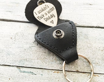 Gift for Dad - Daddy Keychain - Guitar pick keychain - I couldn't pick a better Daddy - Hand stamped keychain - Gift for Dad - Gift for Pop