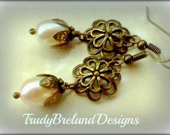 Genuine Freshwater Pearl Earrings, Freshwater Pearl Dangles, Handmade Pear ERs, Baroque Pearl Earrings, Genuine Pearls, June Birthstone Gift