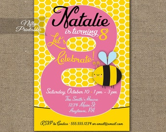 8th Birthday Invitations - Bumble Bee Birthday Invitation - Printable Girls 8th Birthday Party - Eight Year Old Bee Invite - Pink Yellow BEE