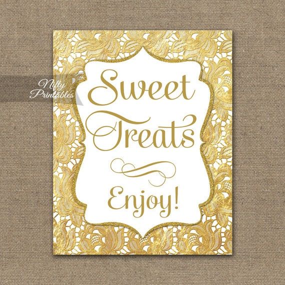 Free Software For You Free Download Sweet Home 3d: Sweet Treats Sign Gold Lace Printable Dessert Table Signs