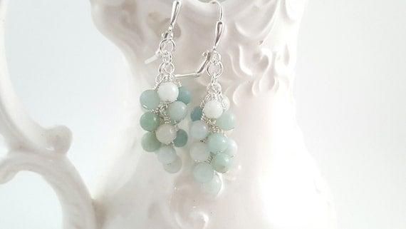 Amazonite earrings - Gemstone Earrings - Cluster Earrings - Creamy Pastel Earrings - Beaded Earrings - Boho - Light Blue - Grape Earrings