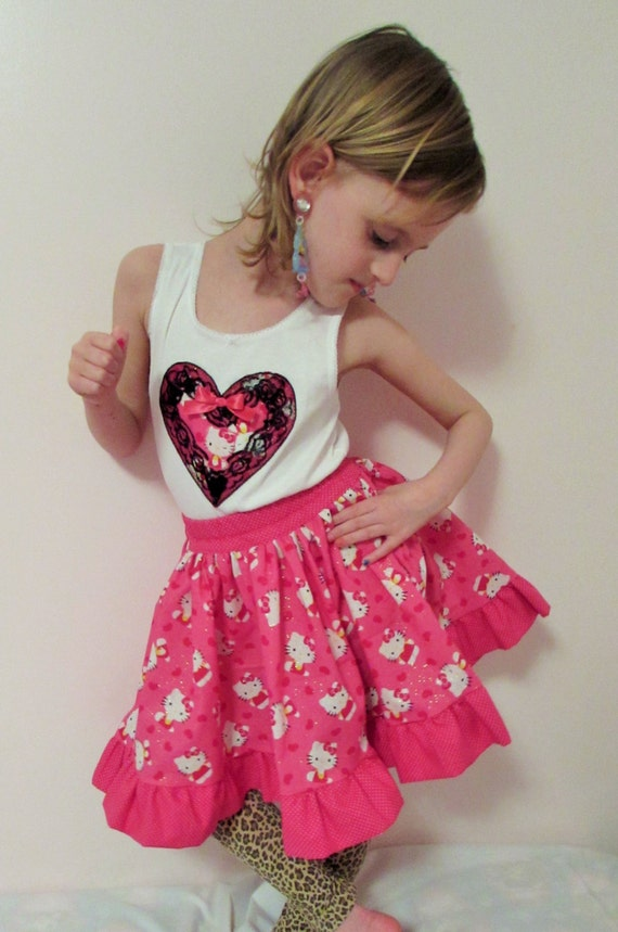 Hello Kitty outfit/Hello kitty birthday outfit/Hello kitty birthday outfit/hello kitty skirt/hello kitty tank top/hello kitty birthday/