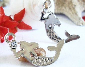Mermaid Charm,Mermiad Earring Charms,Sea Charms,Beach Charms,Bracelet Charms,Mermaid with rhinestone,One Pair