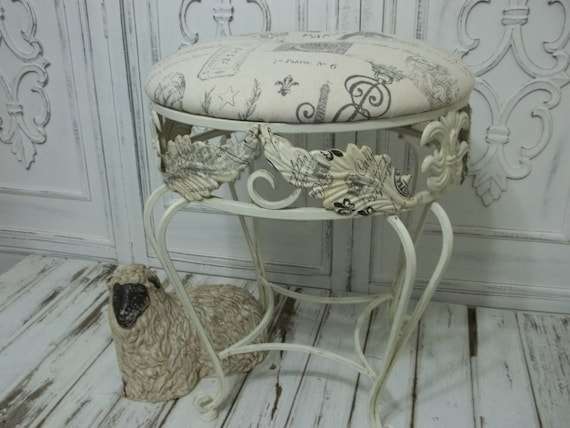 vanity chair shabby chic french country white wrought iron. Black Bedroom Furniture Sets. Home Design Ideas
