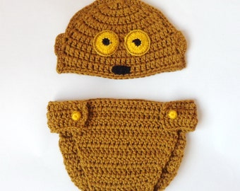 C3PO Droid Baby Costume Hat And Diaper Cover From Star Wars For Newborn C3P0 Halloween Wig/ Cosplay Wig