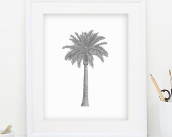 Gray Palm Tree Print Gray Wall Art Palm Tree Wall Art Palm Tree Decor Gray Minimalist Print Coastal Decor Monochromatic Palm Tree Art 098