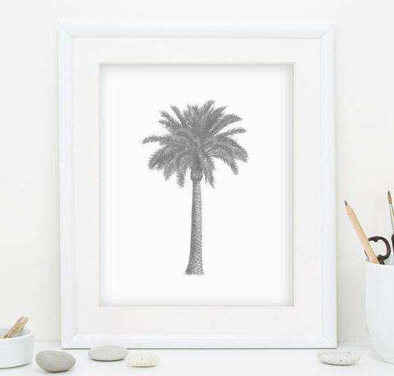 gray palm tree print gray wall art palm tree wall art palm tree decor