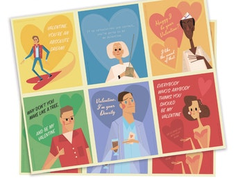 Back to the Future Illustration, Back to the Future Series, Back to the Future Valentines, George McFly Valentine, Marty McFly Valentine,