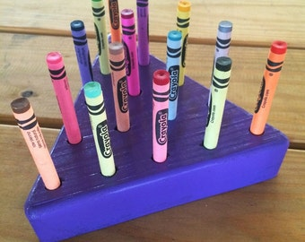 Wooden Crayon Holder/Triangle + crayons included + personalized
