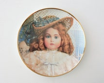Vintage Franklin Mint Plate, Hanau Doll Museum Plate, The Antique Doll, Collectible Doll Plate, Gold Rim Heirloom Plate
