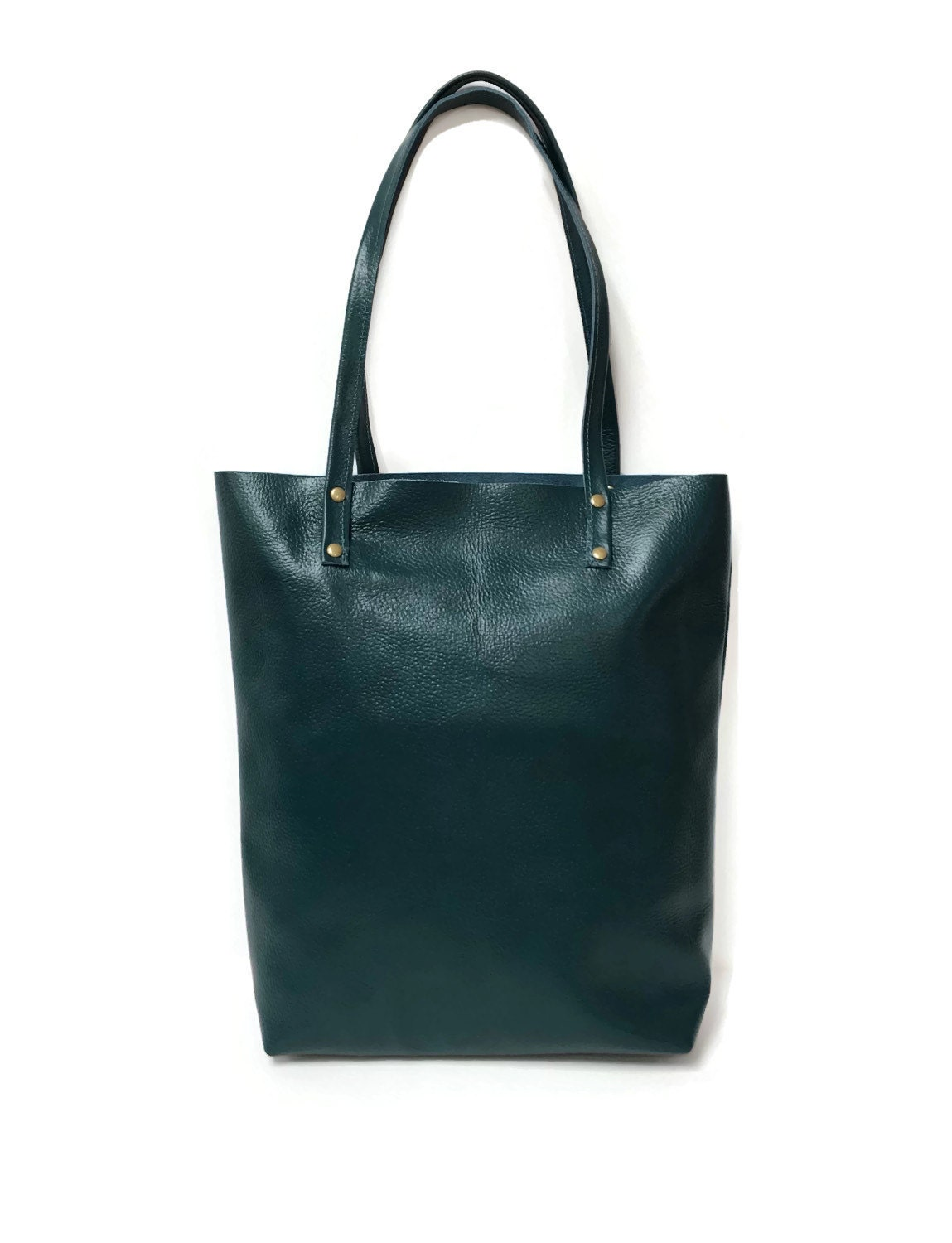 teal leather tote bag simple market tote by