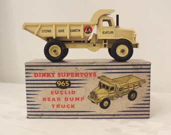 Dinky Supertoys 965 Euclid Rear Dump Truck Boxed 1950s Dinky Toys Meccano Collector Car Gift For Him Yellow