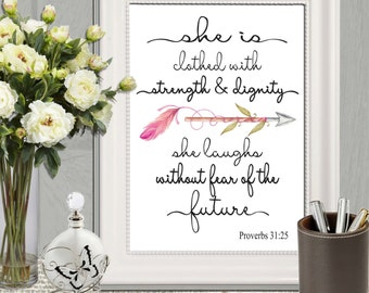 Christian nursery wall art print She is clothed with strength and dignity Proverbs 31:25 Watercolor arrow Bible verse printable DOWNLOAD