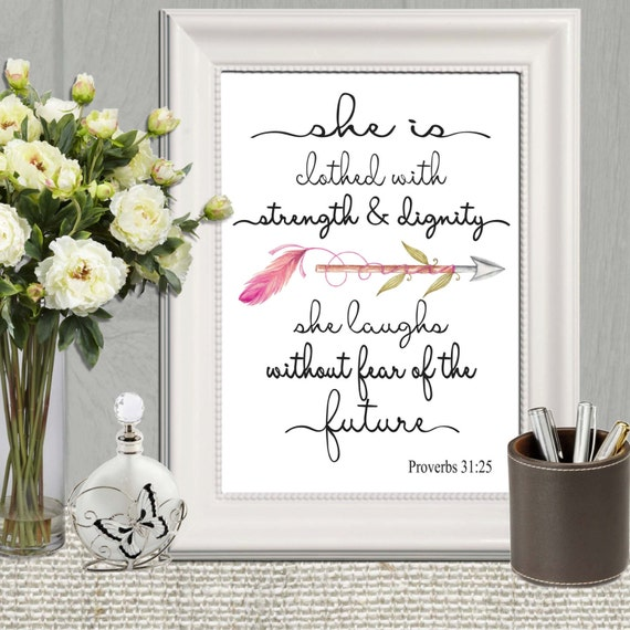 Religious Wall Decor For Nursery : Christian nursery wall art print she is clothed with strength