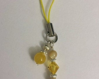Yellow Dragonfly Cellphone Charm