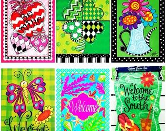 Monogrammed Summer Garden Flags