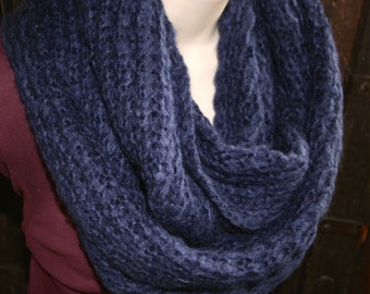 Scarf Chunky Navy Blue Loose Knit Twisted Neckwarmer Infinity Cowl